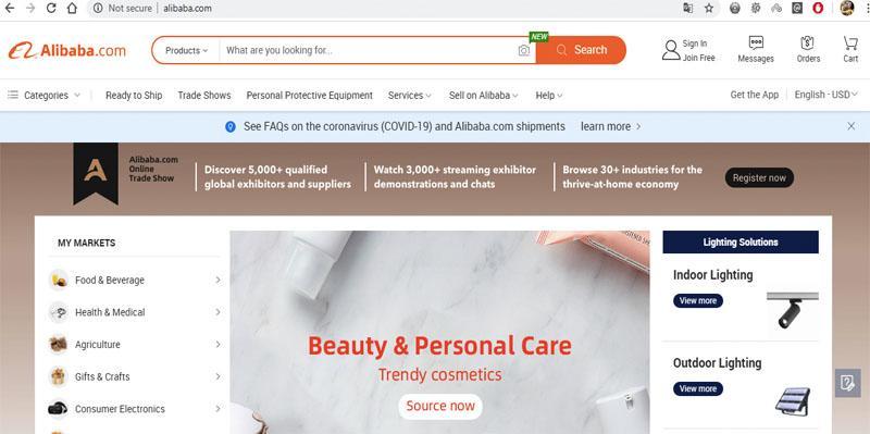 Alibaba là một trang web mua hàng sỉ số lượng lớn của Trung Quốc